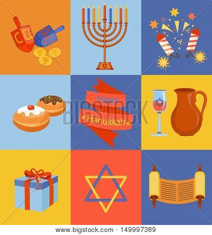 Jewish Holiday Hanukkah icons set. Vector illustration.