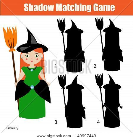Shadow matching game for children. Find the right, correct shadow task for kids preschool and school age. halloween theme with witch character