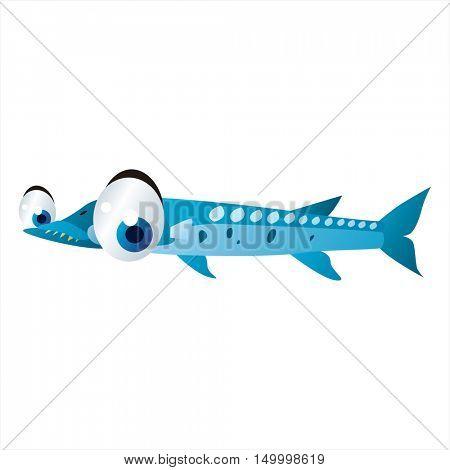 vector comic cute animal illustration. Comic funny cool colorful Barracuda fish