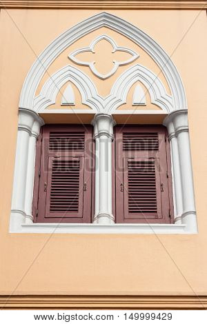 Windows in Gothic style in Thailand building