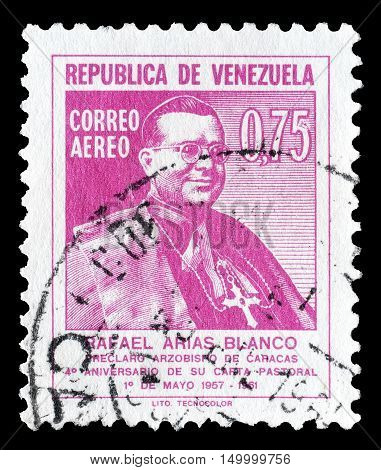 VENEZUELA - CIRCA 1961 : Cancelled postage stamp printed by Venezuela, that shows Rafael Arias Blanco.