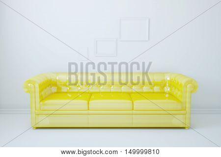 Model unusual sofa in interior. 3d illustration