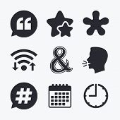 Quote, asterisk footnote icons. Hashtag social media and ampersand symbols. Programming logical operator AND sign. Speech bubble. Wifi internet, favorite stars, calendar and clock. Talking head. Vector poster