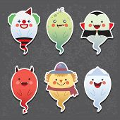 Set of collection of cute ghost with different cosplay: clown, zombie, vampire, devil, scarecrow and japanese ghost. Cartoon halloween ghosts vector icon set. poster