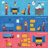 Logistic and warehouse infographics. Worldwide delivery process. Shipment on warehouse. Distribution goods and shipment of goods in container. Logistic service process flat vector illustration poster
