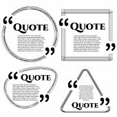 Set of vector scribble quote boxes with text isolated on white background. Quote, commas, message, quote blank, template. Quote bubble. Quote form. poster