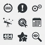 Coming soon rotate arrow icon. Repair service tool and gear symbols. Wrench sign. 404 Not found. Attention, investigate and stars icons. Telescope and calendar signs. Vector poster