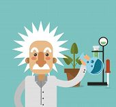 flat design albert einstein with science related icons image vector illustration poster