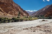 Little settlement in mountain near the Indus River poster