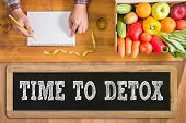 TIME TO DETOX fresh vegetables and on a wooden table poster