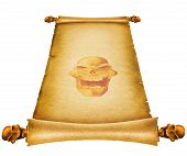 Old paper scroll with skull decor.Background texture poster