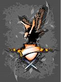 this is a banner with eagle and two sword poster