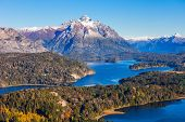 Nahuel Huapi National Park aerial view from the Cerro Campanario viewpoint in Bariloche Patagonia region in Argentina. poster