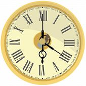 Golden wall clock vector isolated. Clock on wall shows four oclock. Roman numeral clock poster