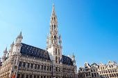 The Grand Place is the central square of Brussels. It is surrounded by opulent guildhalls and two larger edifices the city's Town Hall and the Breadhouse poster