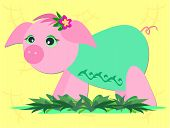 Here is a cute Pink Pig taking a stroll in a garden. poster