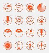 uv logo and icon sets spf vector, 16 orange uv set poster