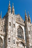 Detail of the facade of the Duomo di Milano (Milan Cathedral 1418-1577). Church monument symbol of Lombardy and of Italy. poster