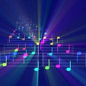 Colorful notes sheet music cheerful musical concept background illustration glowing light poster