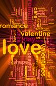 Word cloud concept illustration of love romance glowing light effect poster