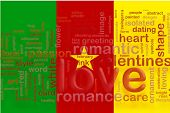 Flag of Cameroon, national country symbol illustration love romance poster