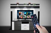Video on demand VOD service in TV. Watching television home cinema tv hd concept poster