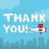 Thank you in the sky concept. Vector illustration of cloud alphabet isolated on a blue sky and city landscape background. Weather text heaven and flat airplane. Thanks concept poster