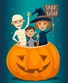 Halloween kids costumes mummies, vampire and witches are sitting in a pumpkin with sign Trick or Treat. Halloween pumpkin. Kids in Halloween festive design concept. Halloween concept. Beggars Night october holiday. All Hallows Evening. Halloween costume. poster