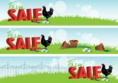 Three landscape sale banners with a farm theme. 3d rendered text sits amongst green grass with a black and white chicken with freshly laid eggs and broken terracotta pots. poster