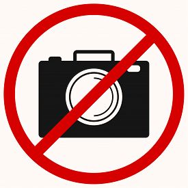 No camera, no photo sign. Red prohibition vector symbol. You can simply change color and size