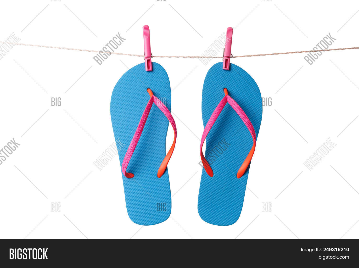 c03d9866c22d7c Blue Flip Flops Hanging On Clothesline Isolated On A White Background.  Vacation Concept
