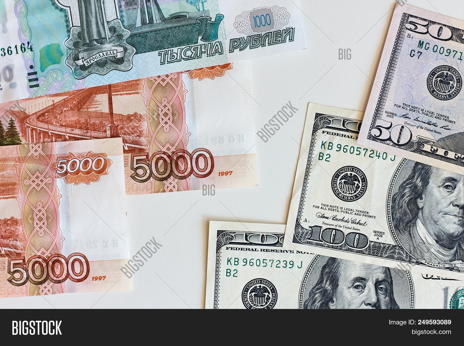 Money Exchange Rate Between The Us Dollar And Russian Rouble Concept