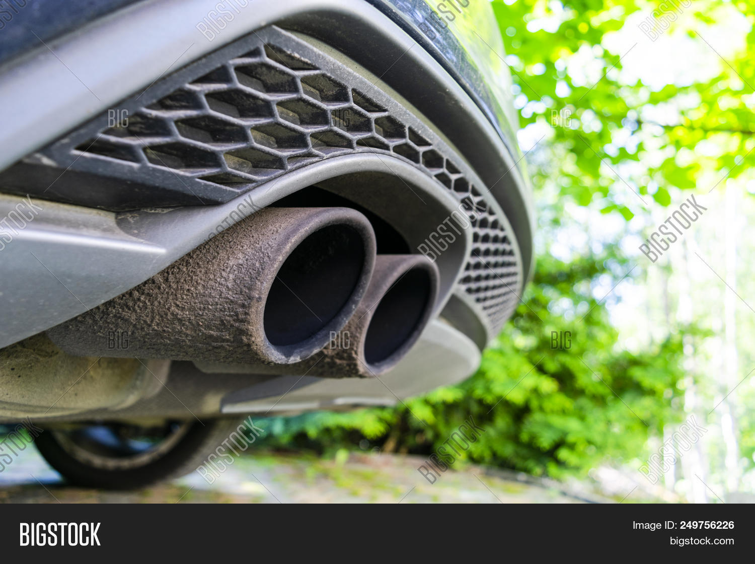 Close Car Dual Exhaust Image Photo Free Trial Bigstock