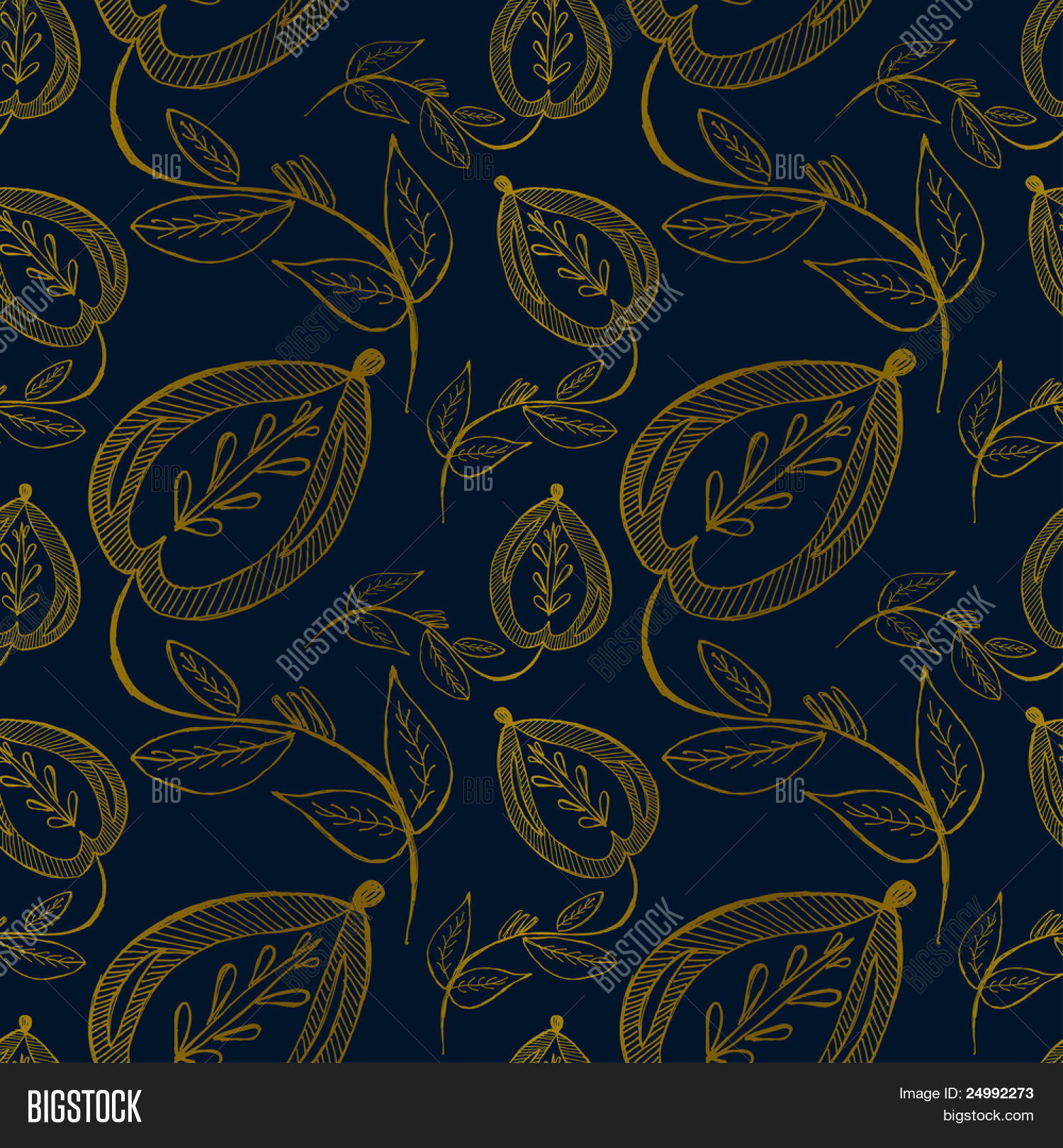Abstract Seamless Blue Gold Floral Background