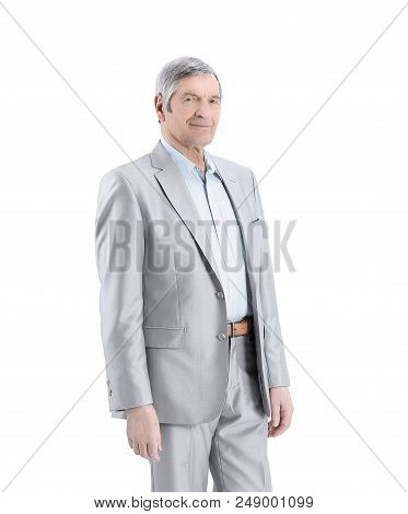Full-length Portrait Of A Successful Adult Businessman.isolated On A White Background