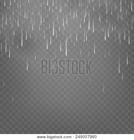 Vector Illustration Rain Isolated On A Transparent Background. Shower Weather, Monsoon Eps10