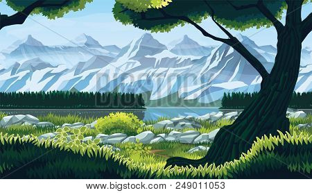 A High Quality Horizontal Seamless Background Of Landscape With River, Forest And Mountains. Horizon