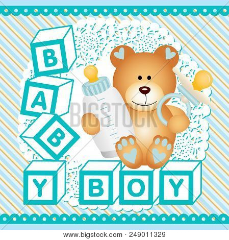 Scalable Vectorial Representing A Baby Boy Teddy Bear Background, Illustration With Elements For You