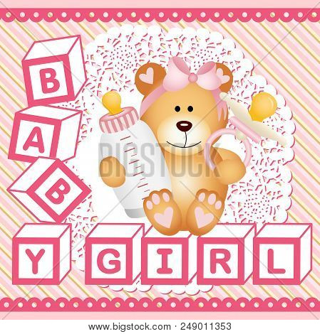 Scalable Vectorial Representing A Baby Girl Teddy Bear Background, Illustration With Elements For Yo
