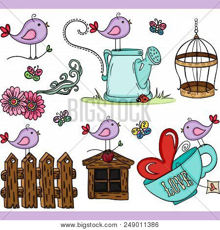 Scalable Vectorial Representing A Purple Bird Set Digital, Illustration With Elements For Your Desig