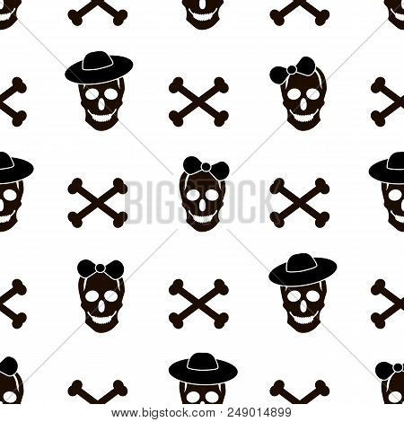 Seamless Pattern With Black Skulls, Bones And Hearts On The White Background. Vector Illustration