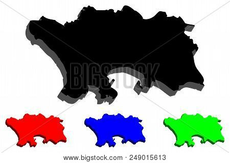 3d Map Of Jersey (bailiwick Of Jersey) - Black, Red, Blue And Green - Vector Illustration