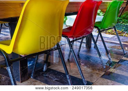 Yellow Color Chair, Red Color Chair ,green Color Chair, Plastic, Metal Chair,  Three Chair In Garden