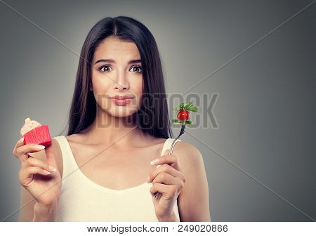 Brunette Woman With Healthy And Unhealthy Food On Banner Background With Copy Space. Overweight, Hea