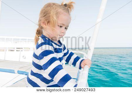 Little Boy At Sea. Marine Trip Od Little Boy. Summer Holiday Of Little Boy. Stylish Little Boy Trave