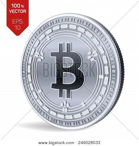 Bitcoin Cash. 3d Isometric Physical Bit Coin. Digital Currency. Cryptocurrency. Silver Coin With Bit