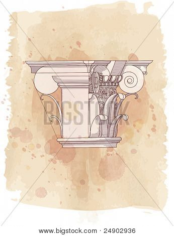 Chapiter- hand draw sketch composite architectural order & vintage watercolor background