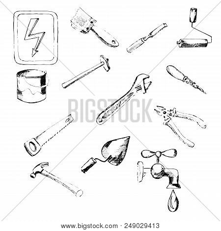 Building Tool. Icons, Hand-drawn Pencil Sketch. Vector Image. Design Element Interface