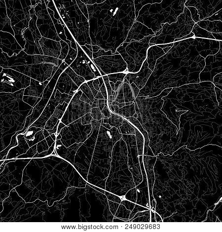 Area Map Of Salzburg, Austria. Dark Background Version For Infographic And Marketing Projects. This