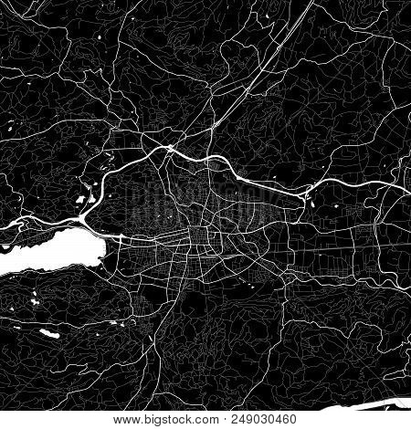 Area Map Of Klagenfurt, Austria. Dark Background Version For Infographic And Marketing Projects. Thi